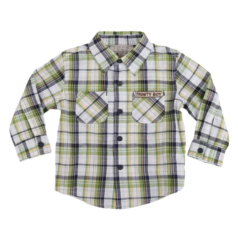 Trinity Boy Green Plaid Shirt