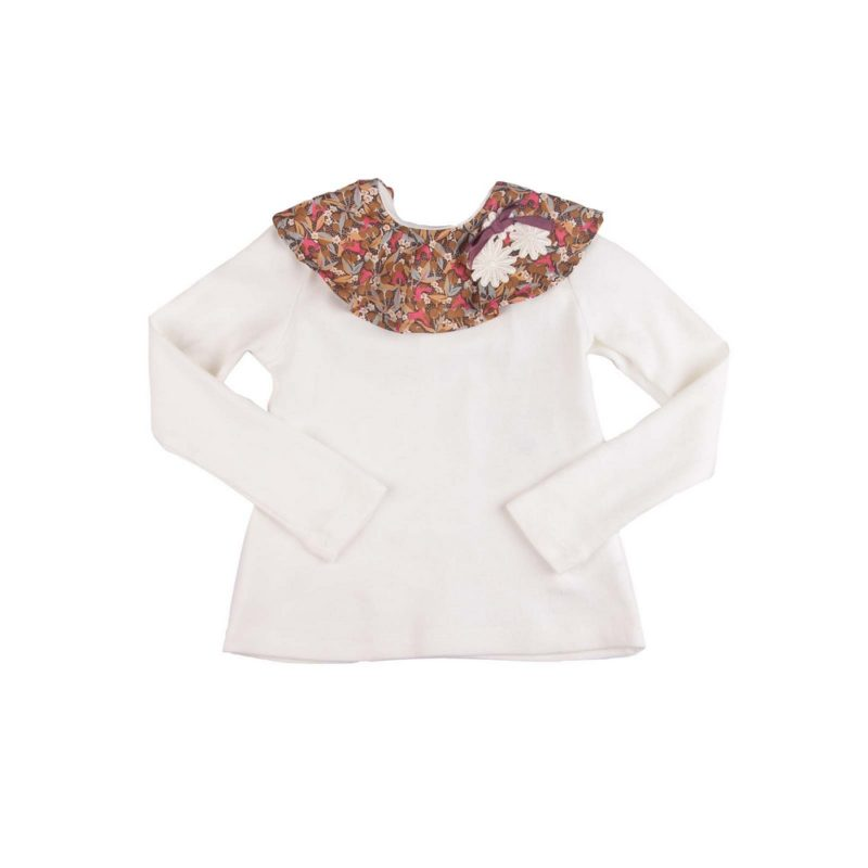 White Top with Forest Print Collar