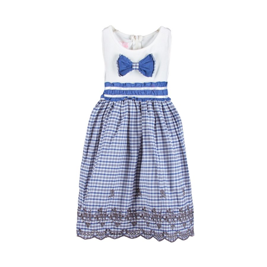 Dress with Gingham Skirt and Matching Bow