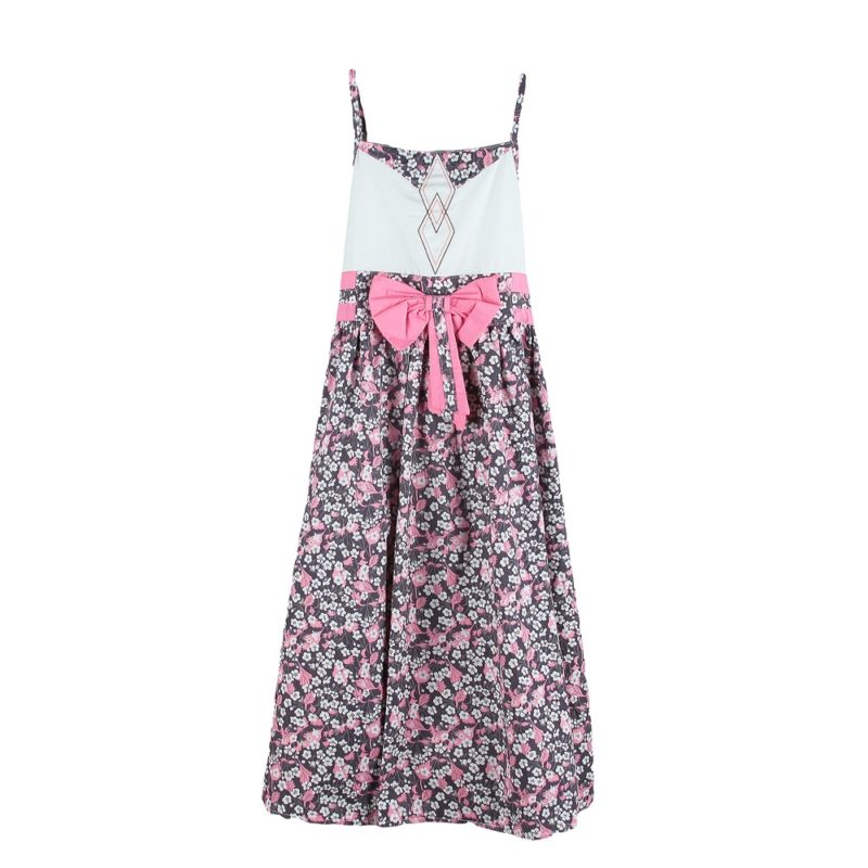 Dress with Scattered Blossom Skirt in Pink and Grey