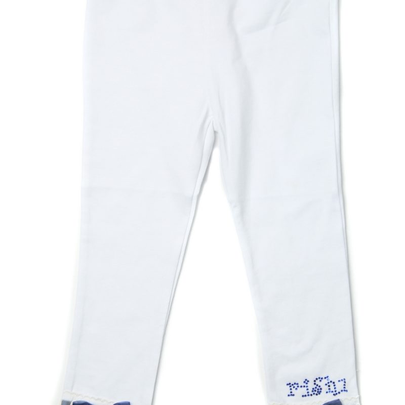 White Stretch Pants with Lace Hem and Rhinestones