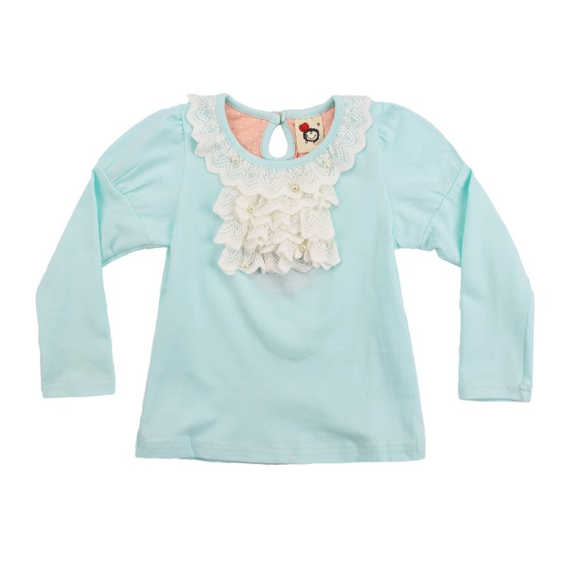 Aqua Top with Lace Collar