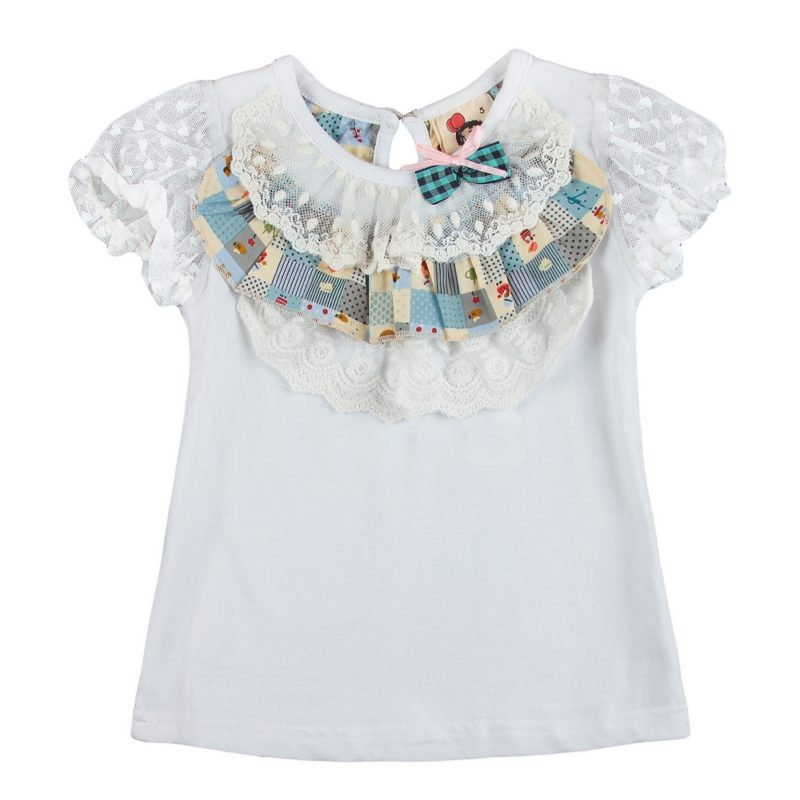 White Top with Quilted Home Sweet Home Lace Collar
