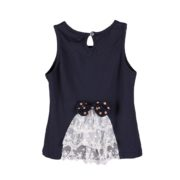 Top with Lace and Bow Accents