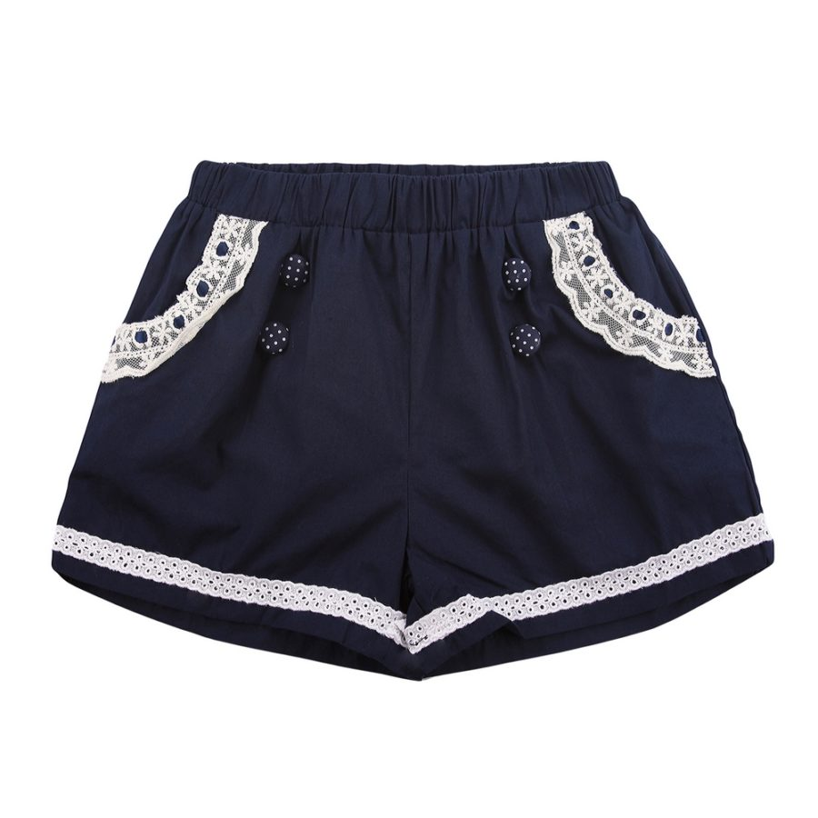Shorts with Polka Dot Buttons and Lace Accents