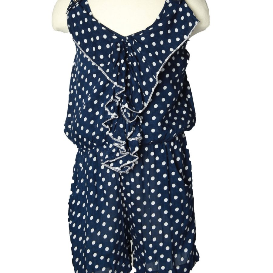 Blue Dotted Top with Ruffles