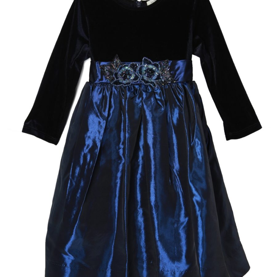 Blue Dress with Velvet Top and Waist Flower
