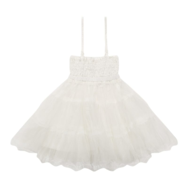 Dress with Crinkle Top and Tulle Skirt