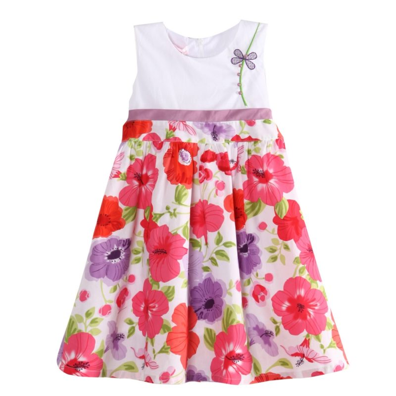 Bright Flower Dress with Shoulder Accent