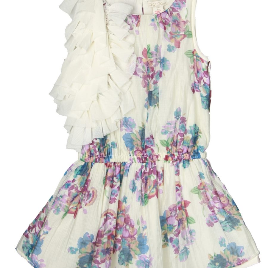 Purple Blossoms Dress with Shoulder Ruffles
