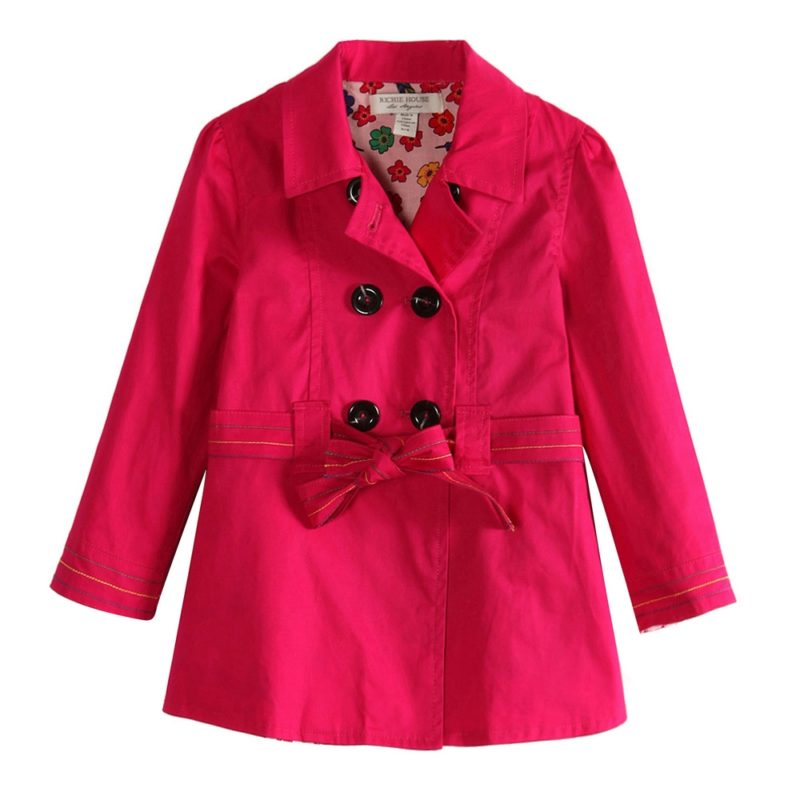 Colored Trench Coat with Floral Lining Fabric