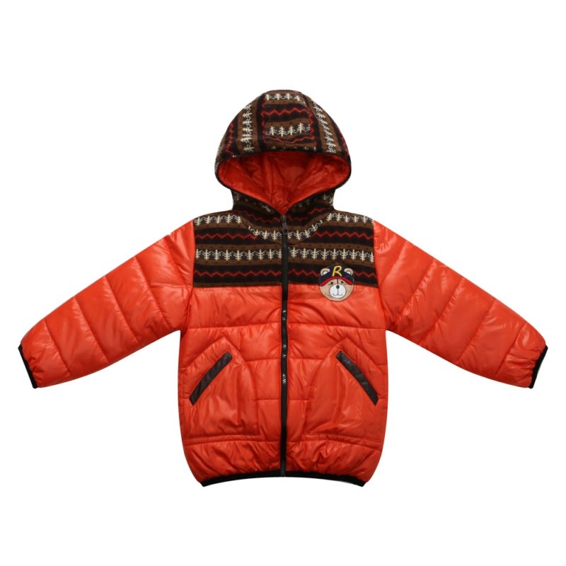 Padded Winter Jacket with Knit and Teddy Accents