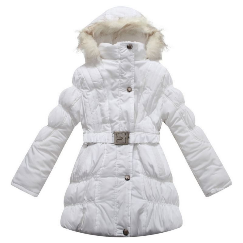 Padded Winter Jacket with Belt and Faux Fur Hood