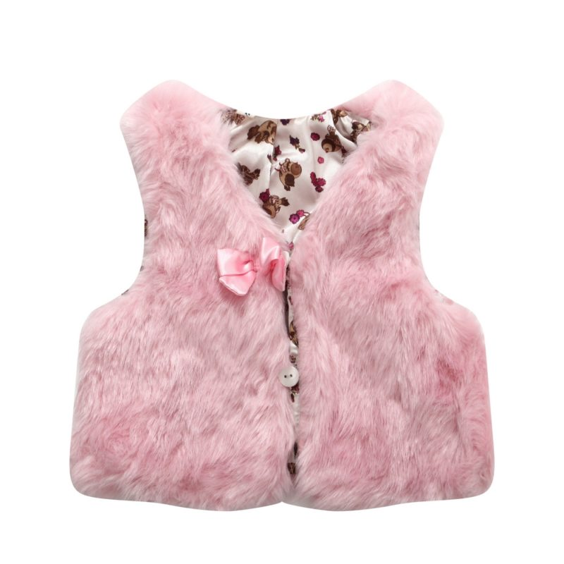 Faux Fur Vest with Bow