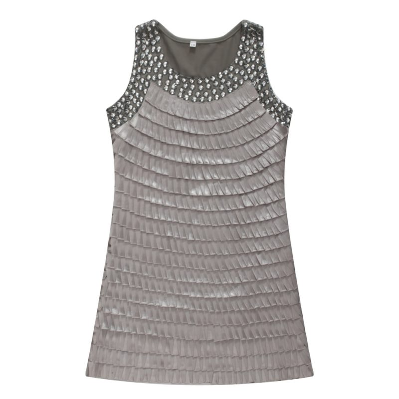 Pleated Tanktop with Rhinestones