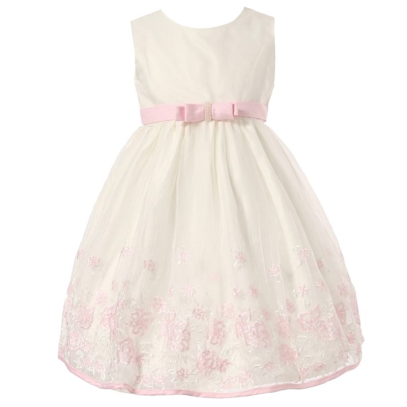 Dress with Pink Accents and Embroidered Flowers