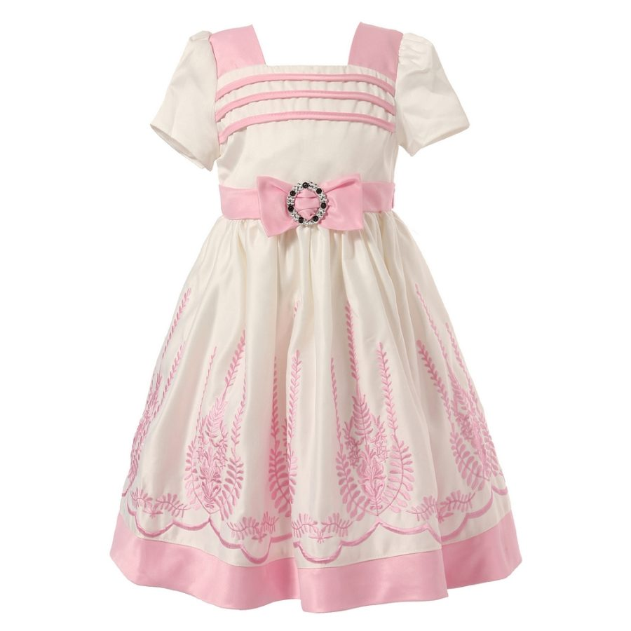 Dress with Decorative Embroidery and Bow