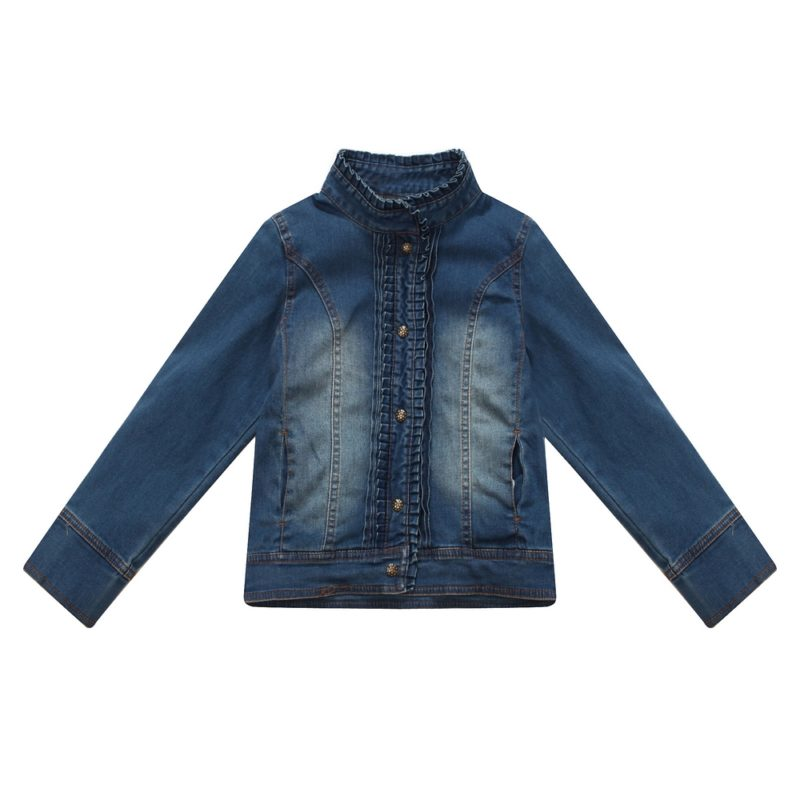 Faded Denim Jacket with Pleated Collar