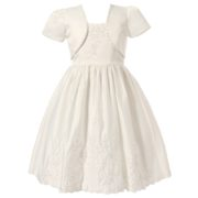 Dress with Floral Embroidery and Bow Accents