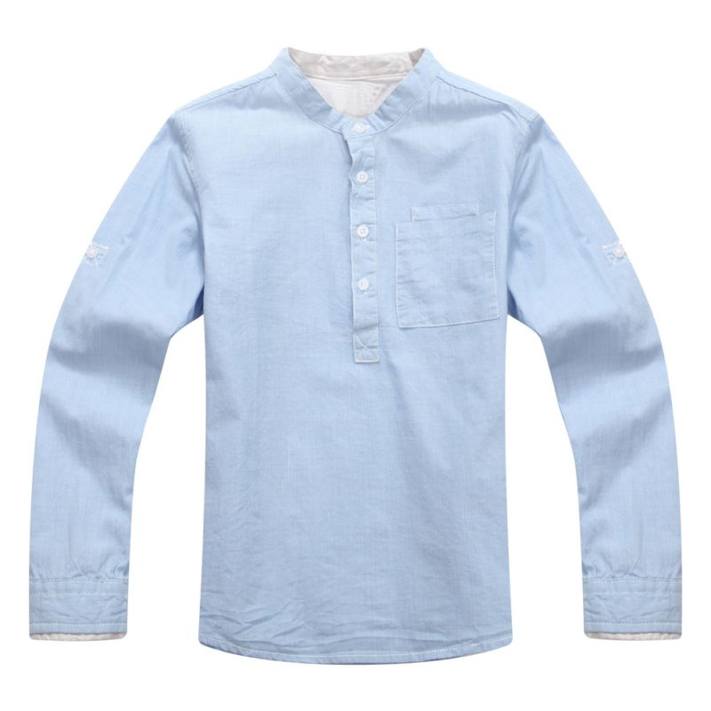 Long Sleeve Shirt with Stand Collar