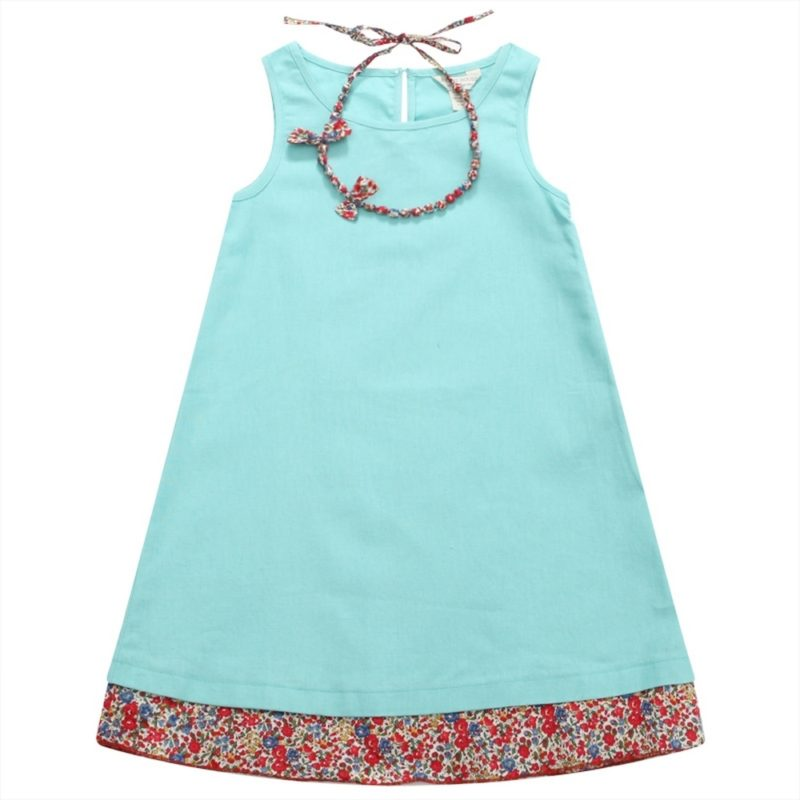 Dress with Bright Floral Trim and Matching Necklace