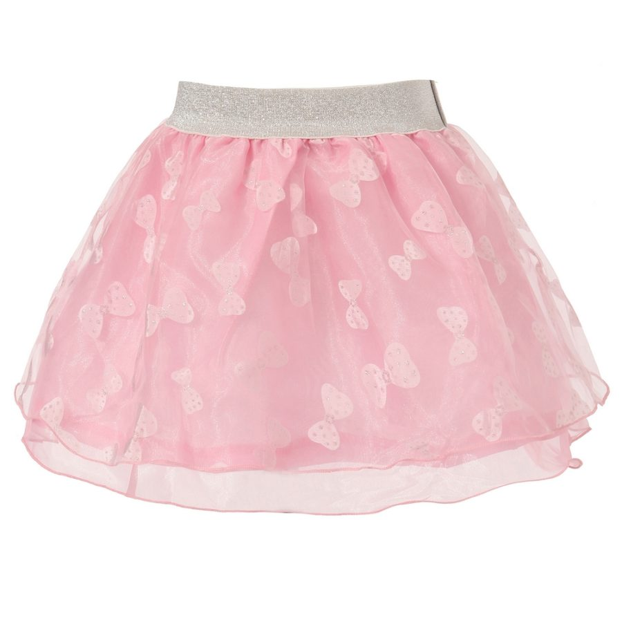 Tulle Skirt with Bow Print and Silver Accent