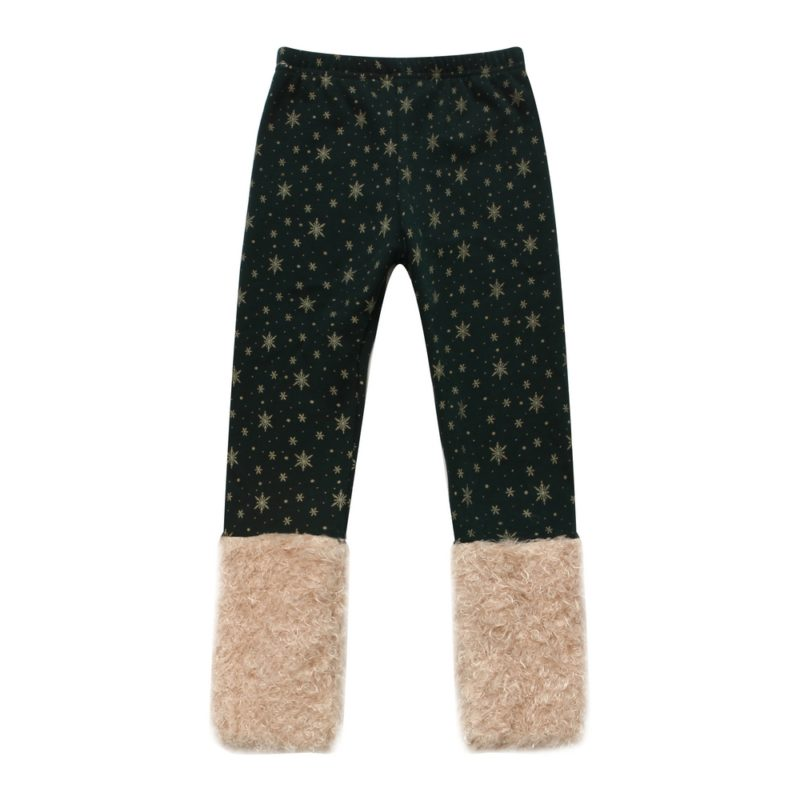 Pants with Gold Snowflakes and Fluffy Cuffs