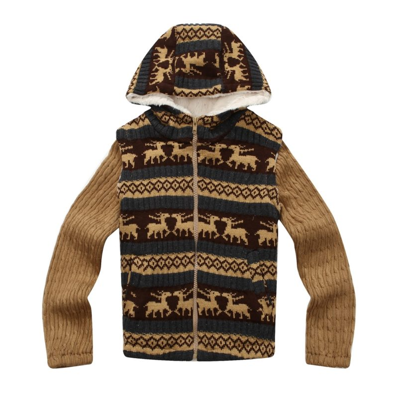 Knit Wildlife Sweater Jacket with Soft Lining