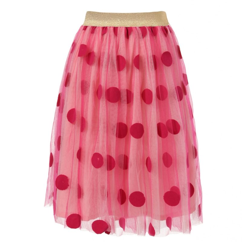 Tulle Skirt with Polka Dots and Gold Accents