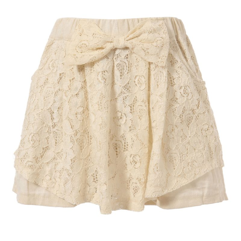 Lace Skirt with Bow Accent
