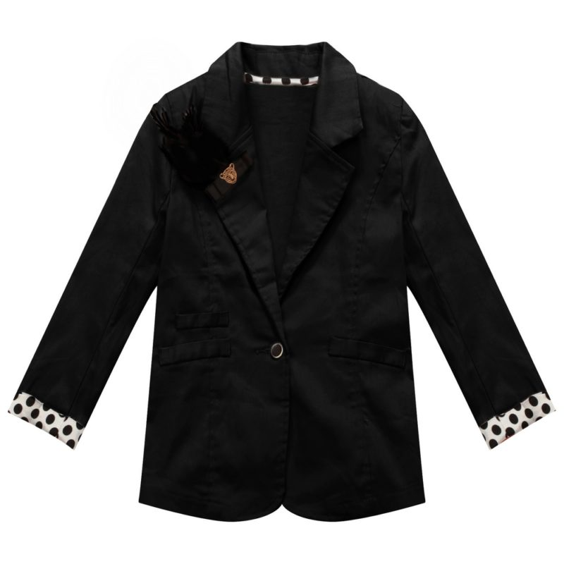 Jacket with Polka Dot Cuffs and Lapel Clip