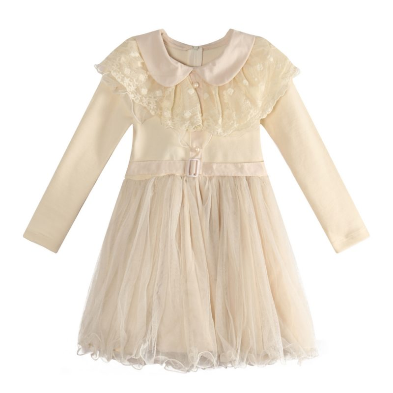 Dress with Tulle Skirt and Lace Collar
