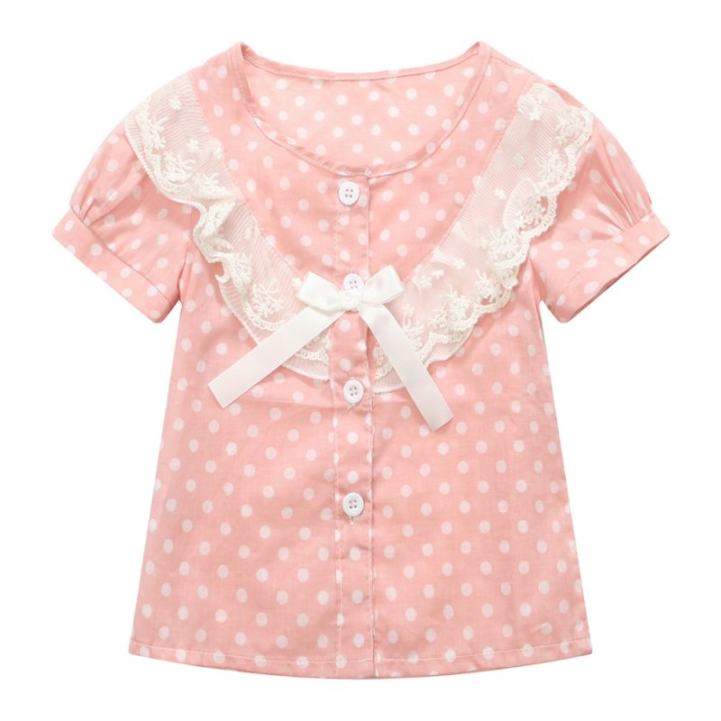 Top with Polka Dots, Bow and Accented Collar