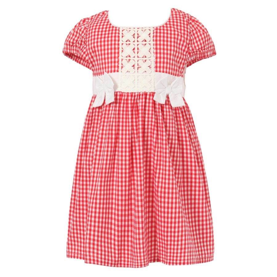 Gingham Dress with Bows and Decorative Applique