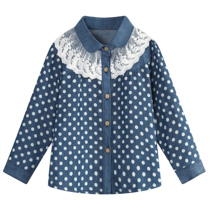 Blouse with Blossoms and Lace Collar