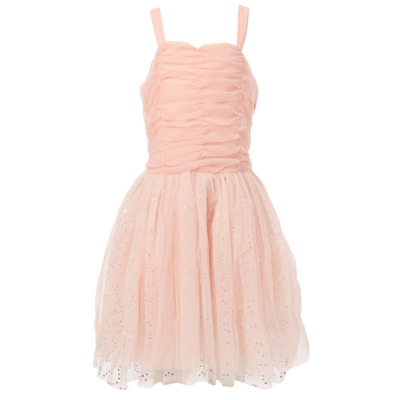 Dress with Spangled Tulle Skirt and Scrunched Top