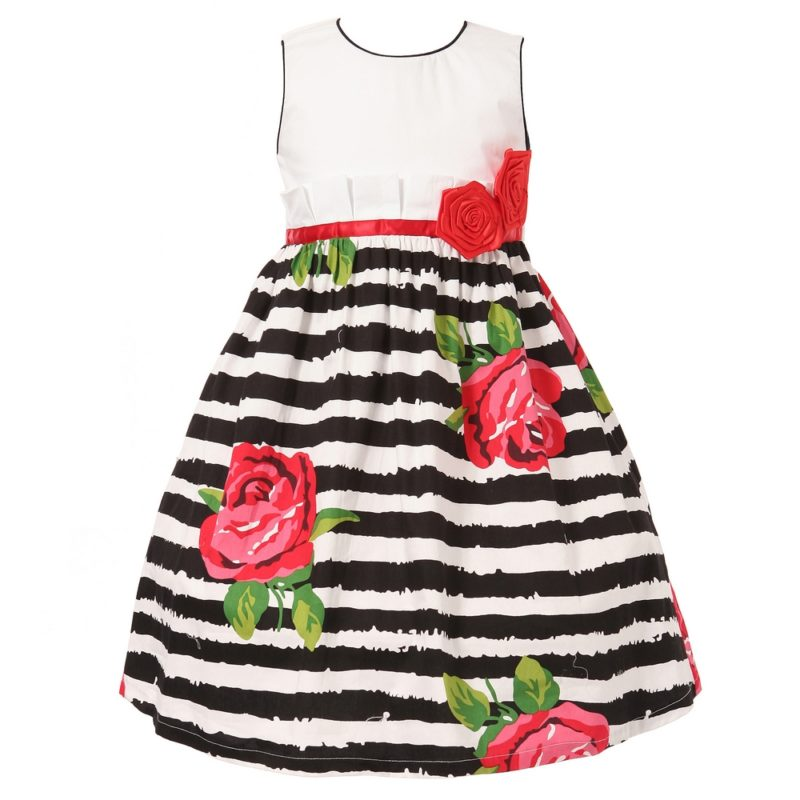 Bold Dress with Roses on Stripes & Rosette Accent