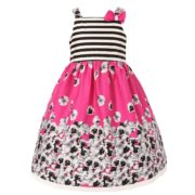Monochrome Blossoms Dress with Striped Top