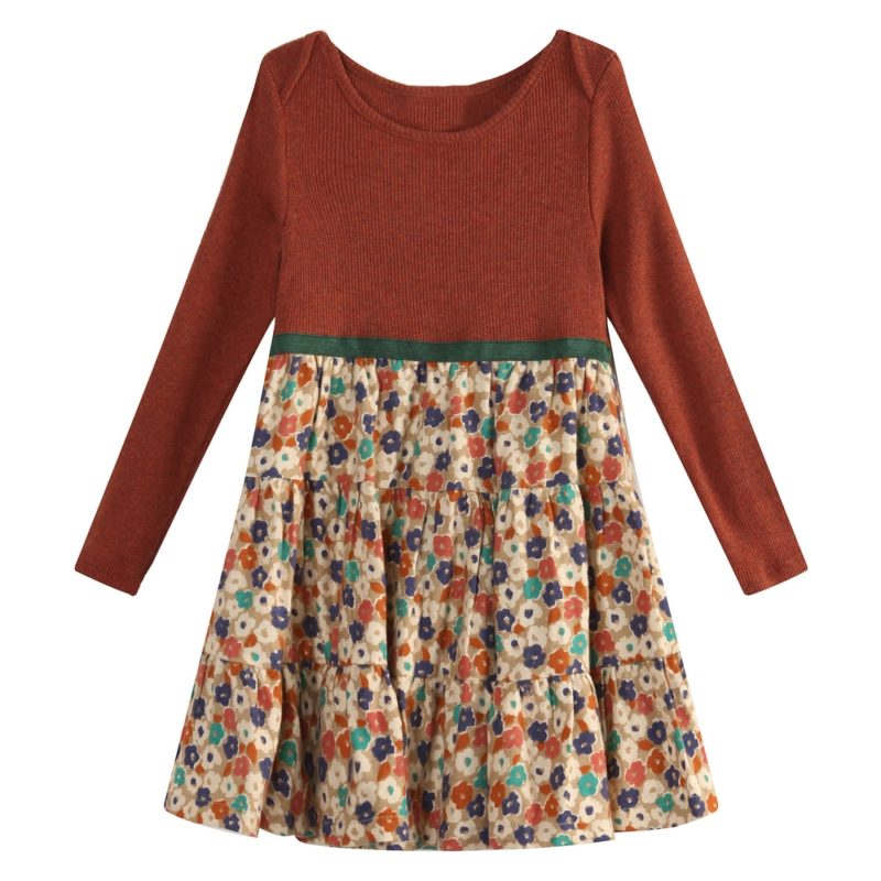 Charming Dress with small floral printed skirt