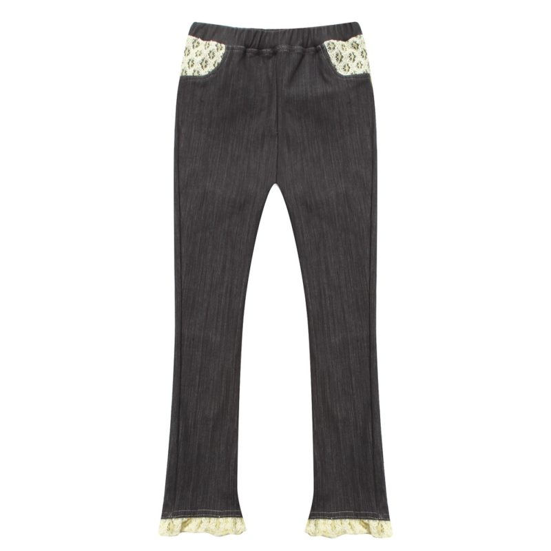 Denim tight trousers with lace details