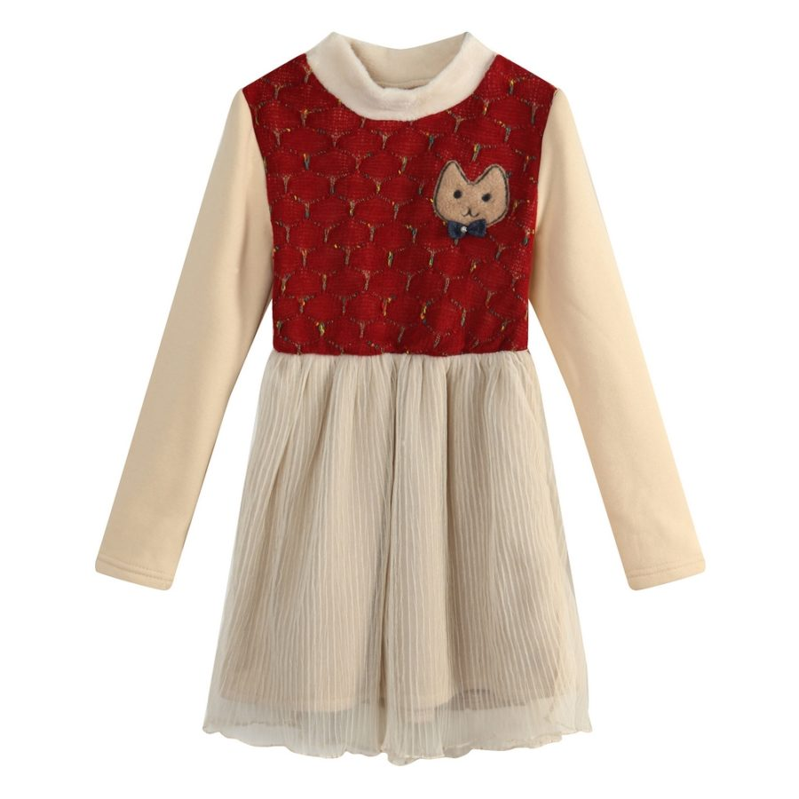 Cute Dress with Cat Patch & Bow