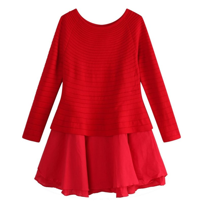 Dress With Sweater Top And Cotton Voile Skirt