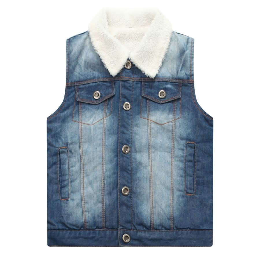 Denim Vest with Collar