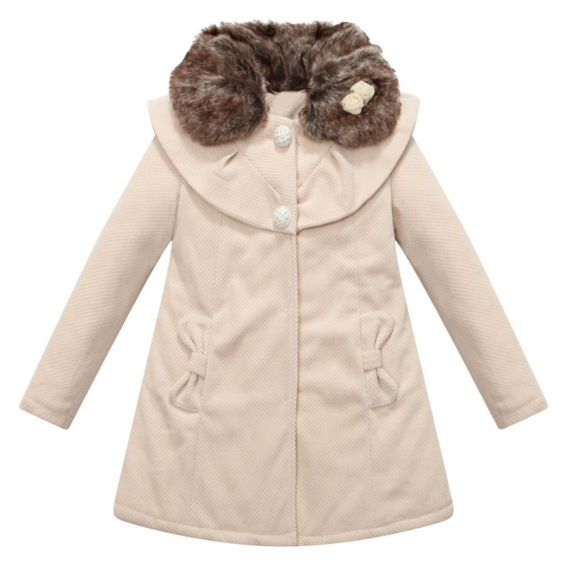 Padding Jacket with Fur Collar and Cape