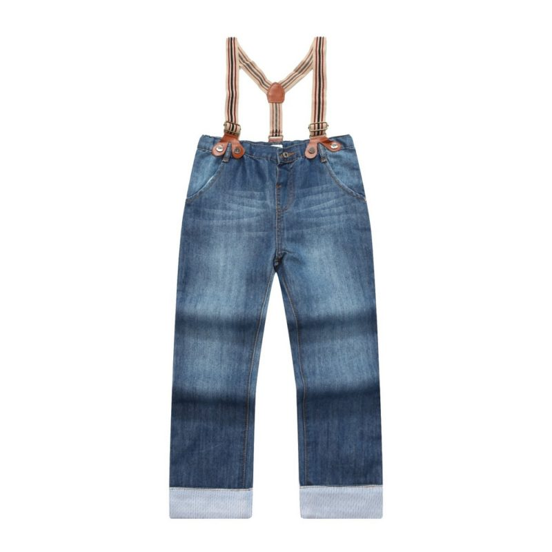 Denim Trousers with Removable Elastic Braces