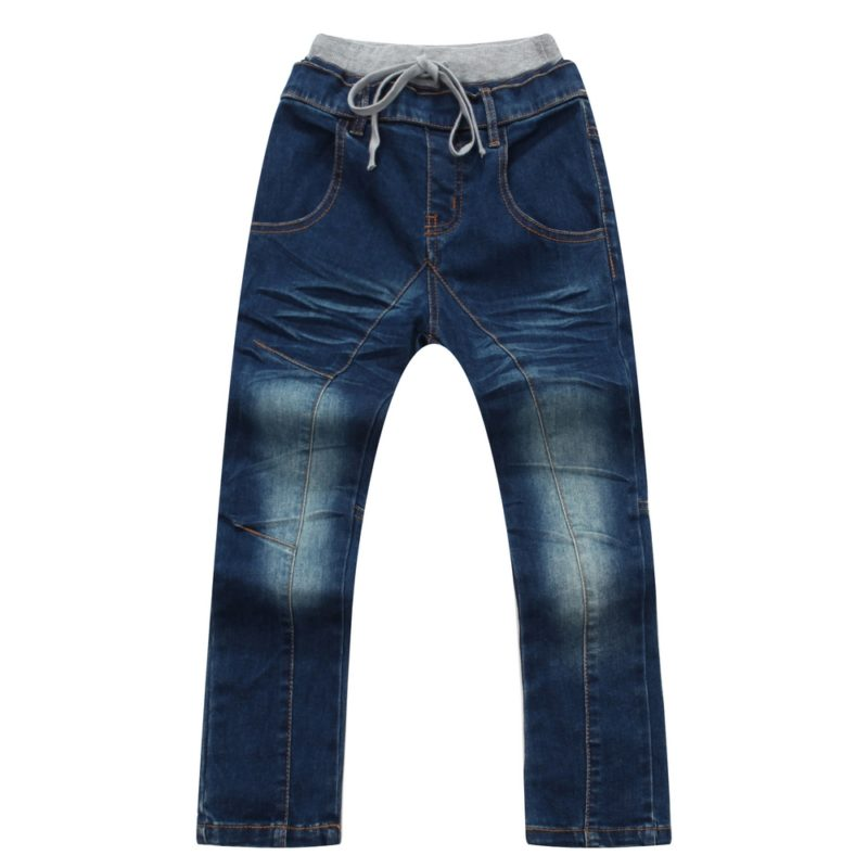 Denim Trousers with Elastic Waistband and Drawstring