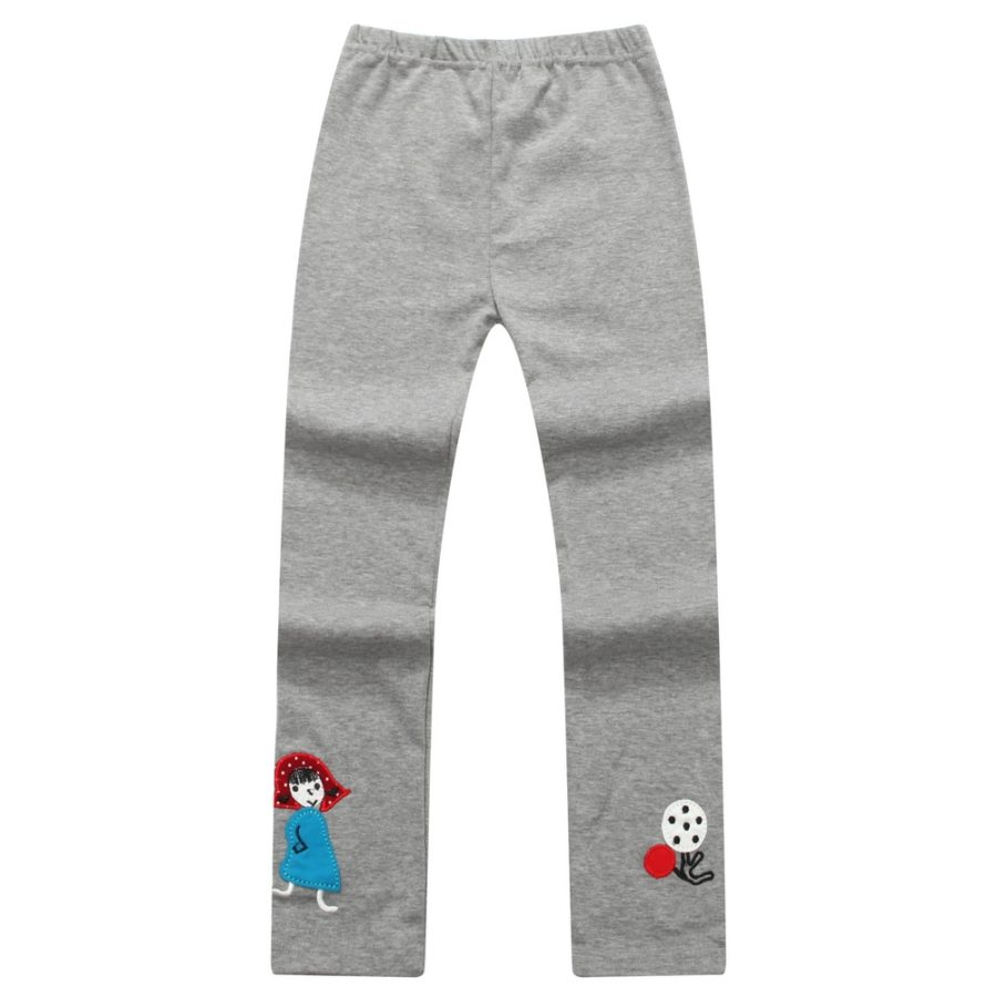 Elasitc Leggings with Patch Embroidery