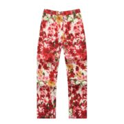 Flower Rrinted Trousers with Zip Fly and Snap Closure