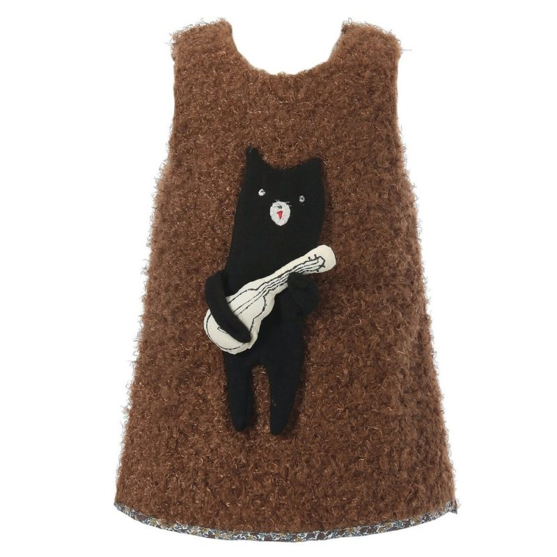 Cute Dress with Padded Bear Decoration
