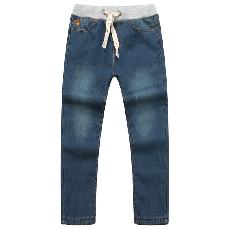 Winter Denim Pants with Elastic Waistband